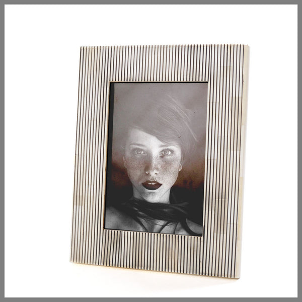 Pin Stripe Black and White Bone frame 5x7