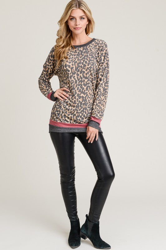 Leopard and Lines Top
