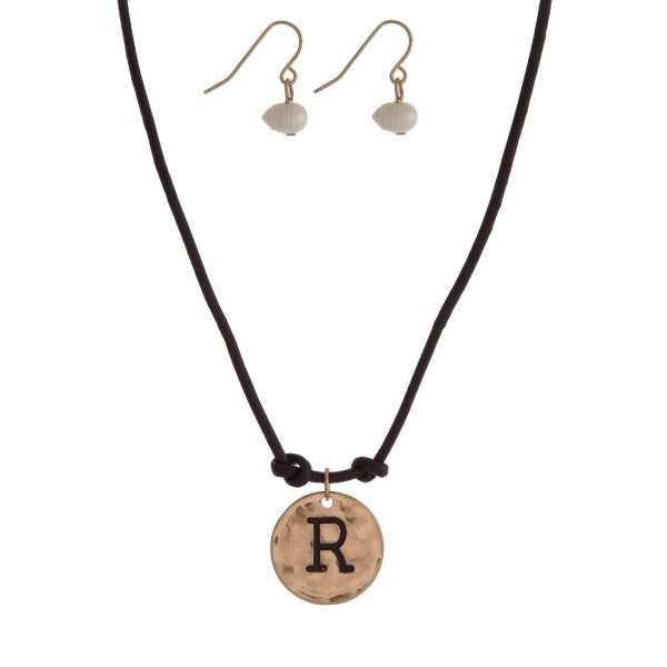 Brown Cord Necklace with R Stamped Pendant