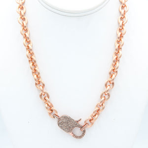 PAULA ROSEN - Big Baby Diamond Lock Necklace - Rose Gold