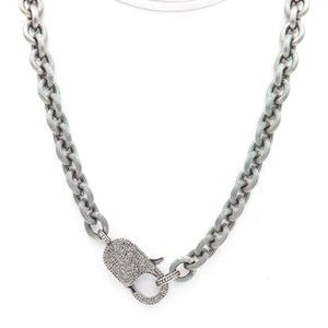 PAULA ROSEN - Big Baby Diamond Lock Necklace - Sterling Silver
