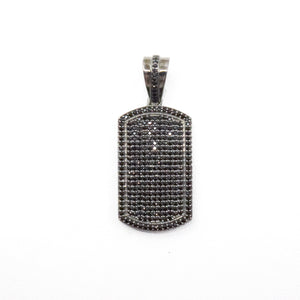 PAULA ROSEN - STERLING BLACK PAVE SPINEL DOG TAG