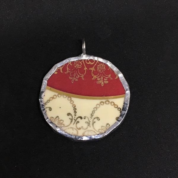Royal Stafford round red and gold pendant