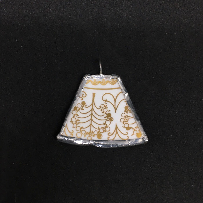 Gold & White keystone pendant