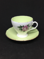 Foley Red Rose With Green Inside Teacup