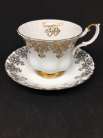 Mismatch: Royal Albert 50th Anniversary  Gold Tea Cup And Silver Saucer