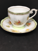 Bell China Green Boarder Tea Cup
