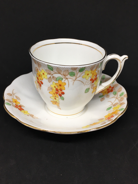 Bell China Yellow & Red Floral Teacup
