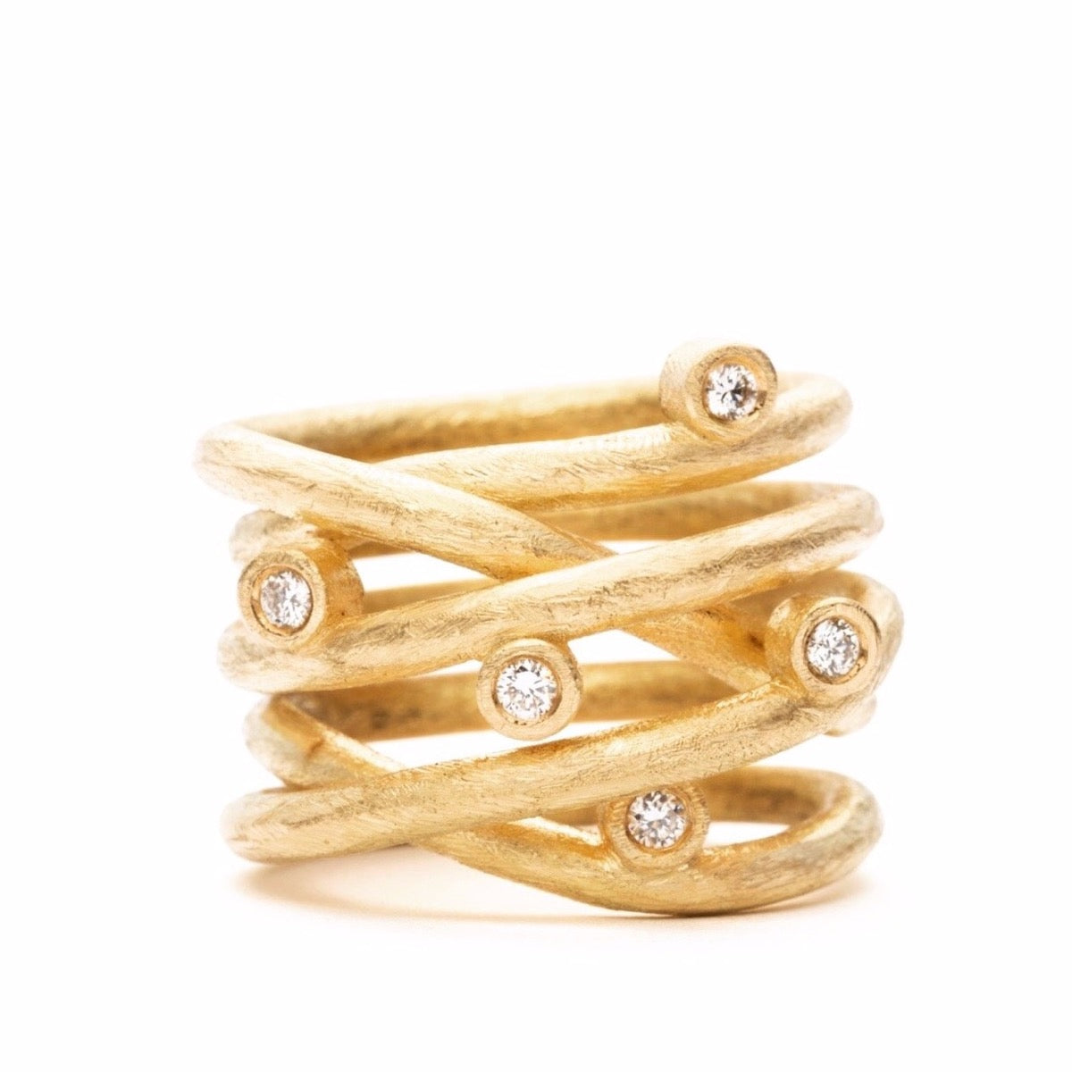 Loop Ring Classic - 18 kt. - Guld - 5 Diamanter