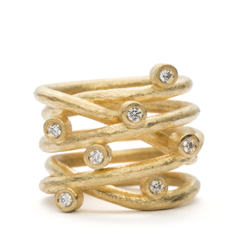 Loop Ring Classic - 18 kt. - Guld - 7 Diamanter