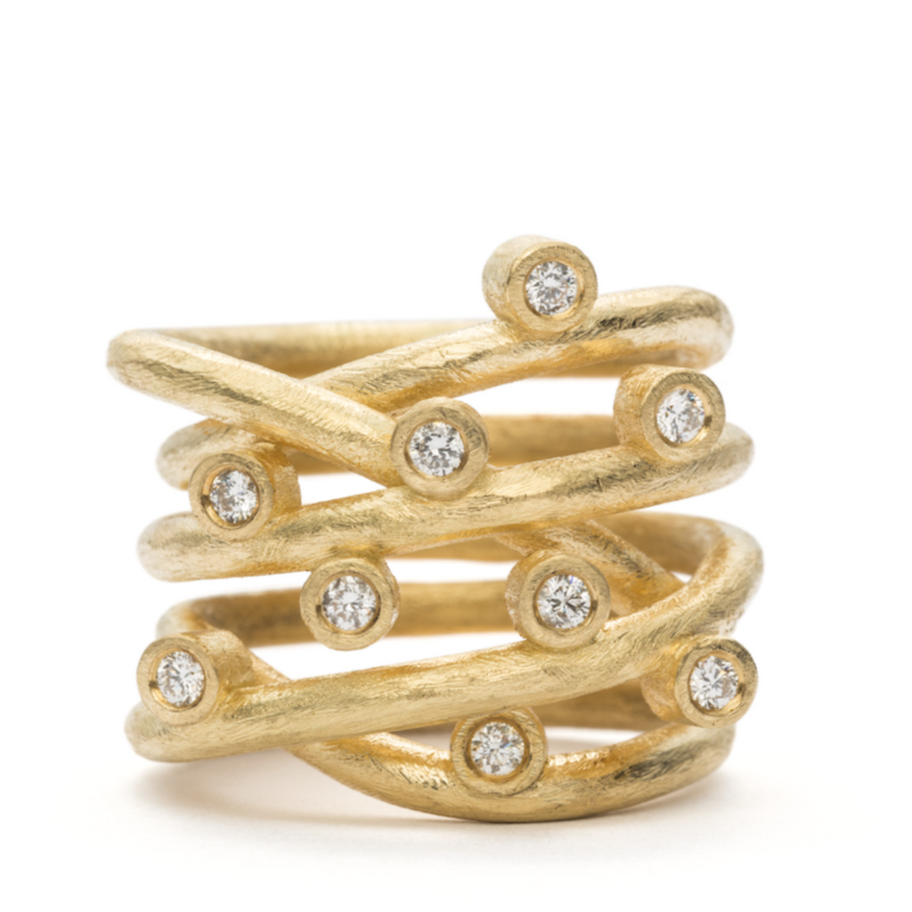 Loop Ring Classic - 18 kt. - Guld - 9 Diamanter