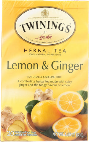 TWININGS OF LONDON: Herbal Lemon & Ginger Naturally Caffeine Free, 20 Tea Bags, 1.06 oz