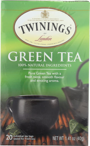 TWININGS OF LONDON: Tea Green Tea Light Flavour Strength, 20 Tea Bags, 1.41 Oz