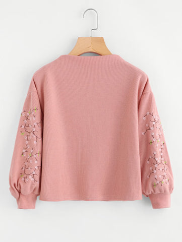 Lantern Sleeve Floral Embroidered Sweatshirt