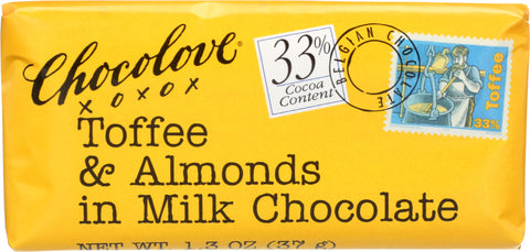 CHOCOLOVE: Toffee & Almonds In Milk Chocolate Bar, 1.3 oz - SaveSpacex
