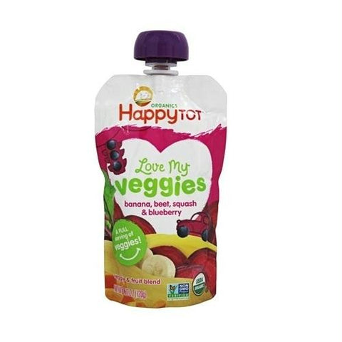 Happy Tot Love My Veggies Organic Banana Beet Squash And Blueberry Blend (16x4.22 Oz)