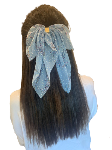 Blue Floral Scarf Bow
