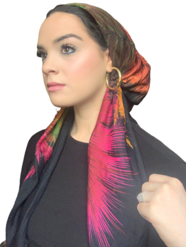 Pre-tied Vibrant Black Feather Fringe