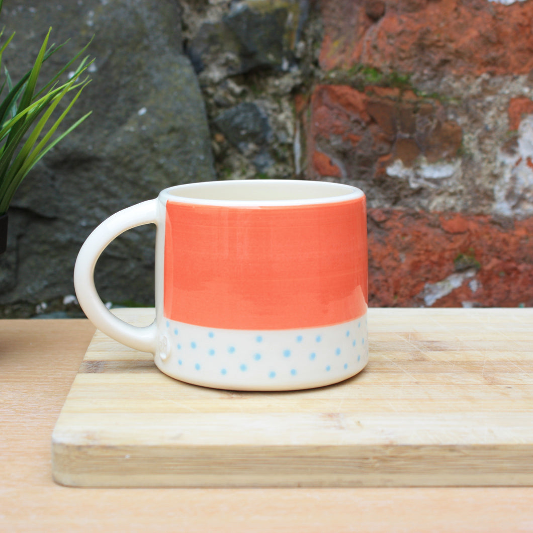 Polka dot mango and Malibu blue mug