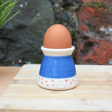 Load image into Gallery viewer, Navy egg cup, with pink dots