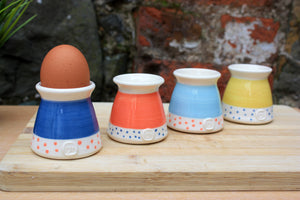 Malibu blue egg cup, with pink dots