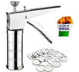 Stainless Steel Kitchen Press with 15 Different Types of Jalies, Murukku Maker/Bhujiya Maker/Noodles/Cookies/Namkeen/Chakali Maker/Sev Maker/Farsan Maker/Gathiya Maker (Kitchen Press Tool)