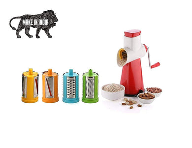 4 in 1 Drum Grater Shredder Slicer for Vegetable,Fruit,Chocolate,Dry Fruits,Salad Maker with 4 Attractive Drums