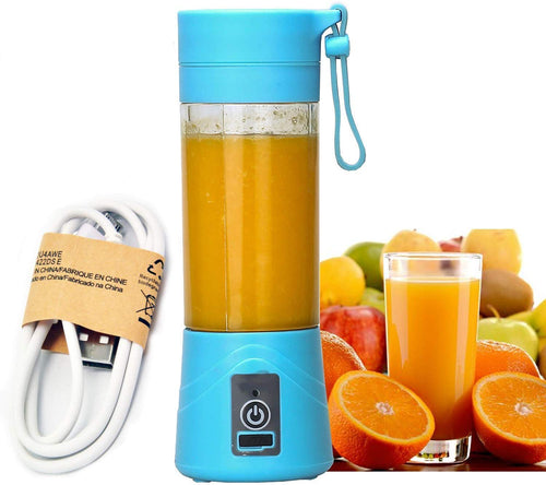 Rechargeable Portable 4 Blade Electric Mini USB Juicer Bottle for Making Shake Smoothies (Blue)