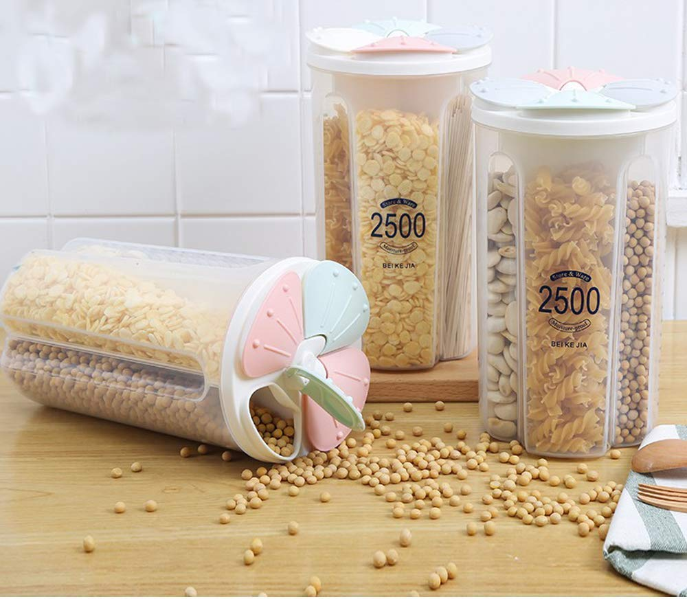 Set of 3 Plastic 4 Grid Cereal Dispenser Storage Jar Box Container Bin with Lid for Kitchen Food, Rice, Dry Fruits, Pasta Nuts Grains (Set of 3)