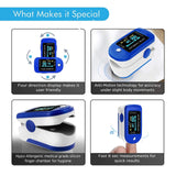Oximeter with Multidirectional Color Display for Blood Oxygen Saturation SpO2 and Heart Rate Monitoring