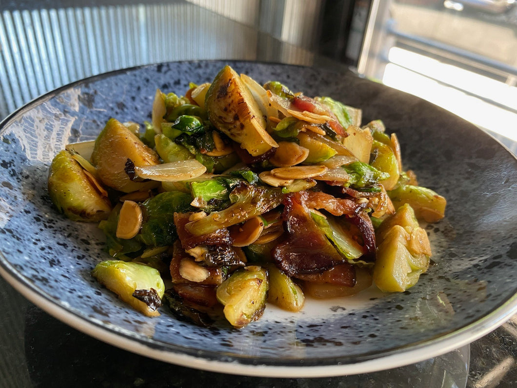 Hot (Spicy) Honey Brussels Sprouts with Toasted Almonds & Cherrywood Bacon