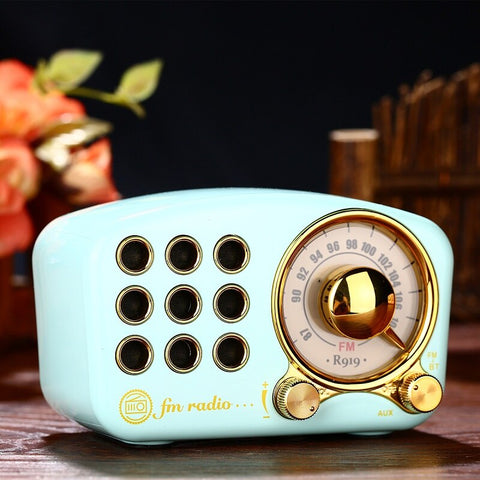 Image of PRUNUS portable fm radio receiver AUX/TF card Mp3 player bluetooth function USB mini rechargeable radio with speaker