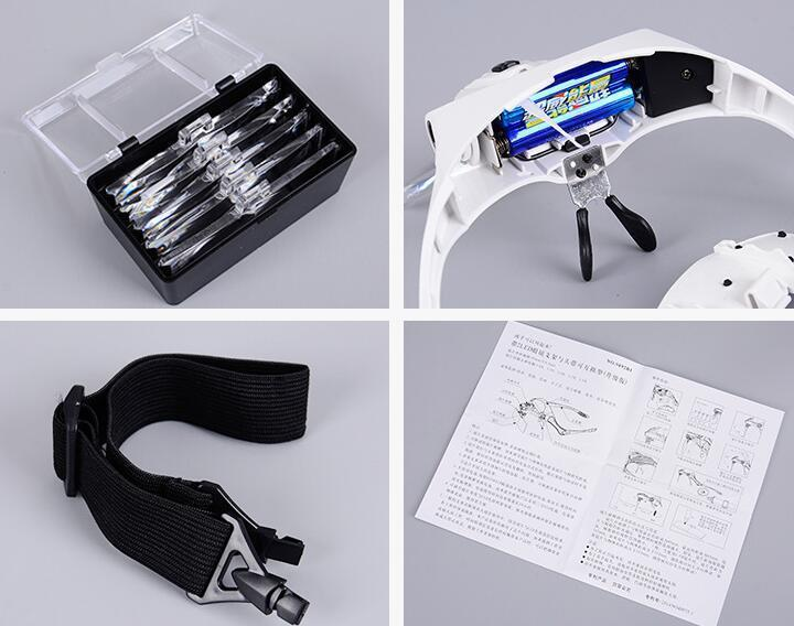 Adjustable 5 Lens Headband Magnifier Glasses with LED Light (1.0X 1.5X 2.0X 2.5X 3.5X Magnification)