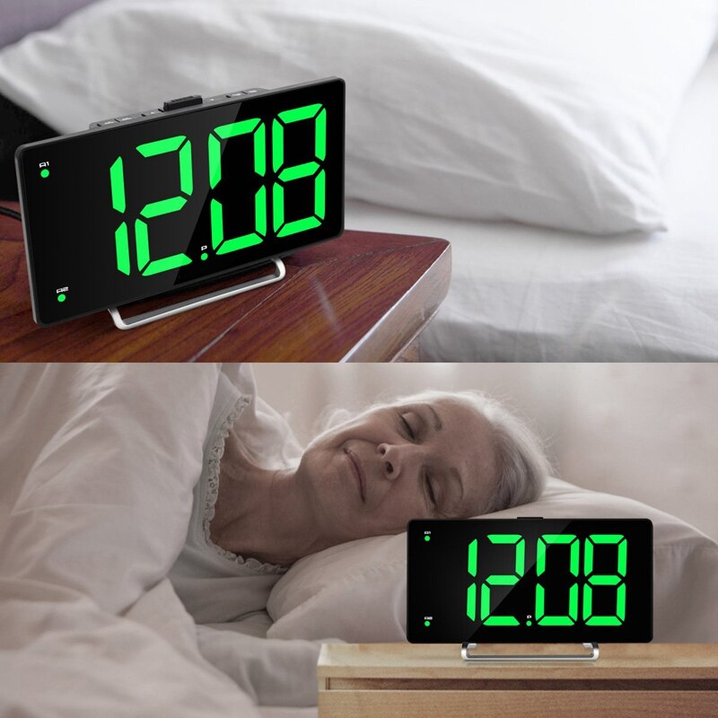 Large Alarm Clock (9 Inch LED Digital Display) with USB Charger
