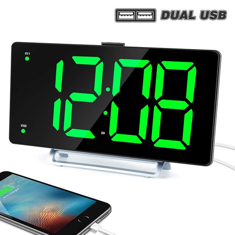 Image of Large Alarm Clock (9 Inch LED Digital Display) with USB Charger
