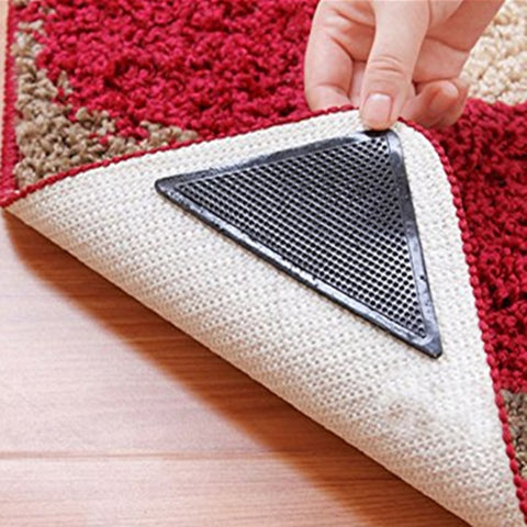 Image of Reusable Washable Carpet & Mat Grippers (Non Slip Silicone Grip For Home, Bath, & Living Room) - 4pcs/Set