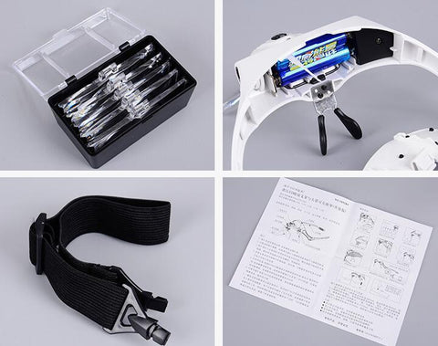 Image of Adjustable 5 Lens Headband Magnifier Glasses with LED Light (1.0X 1.5X 2.0X 2.5X 3.5X Magnification)