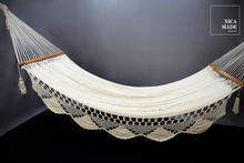 "Load image into Gallery viewer, ""Summer Breeze"" Cotton Handwoven Hammock Handmade with Wooden Spreader Bars 