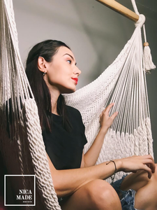 Boho Style White Macrame Hammock Swing Chair