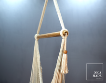 Load image into Gallery viewer, Boho Style White Macrame Hammock Swing Chair