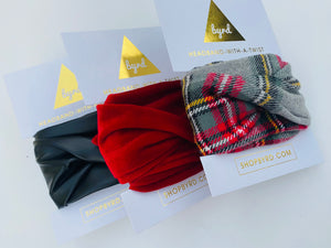 Grey Plaid, Red Velvet and Black Faux Leather Wire Headbands, Set of 3