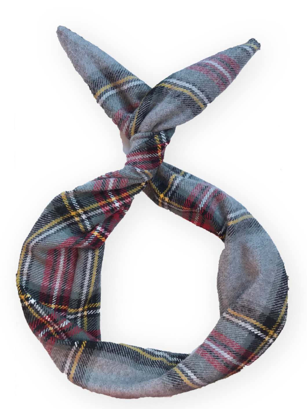Grey Plaid Flannel Wire Headband