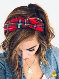Red Tartan Plaid Flannel Wire Headband