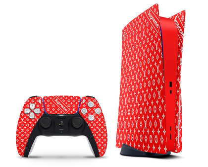 PlayStation PS5 Louis Vuitton Supreme Red PS5 Skin Sticker - Luxury Vinyl