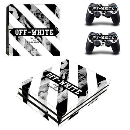 PlayStation PS4 Pro Offwhite Stripes  Skin Sticker - Popculture Vinyl