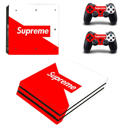 PlayStation PS4 Pro Supreme Red White  Skin Sticker - Popculture Vinyl