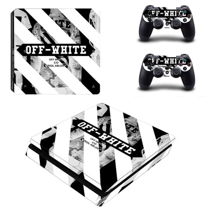 PlayStation PS4 Slim Offwhite Stripes  Skin Sticker - Popculture Vinyl