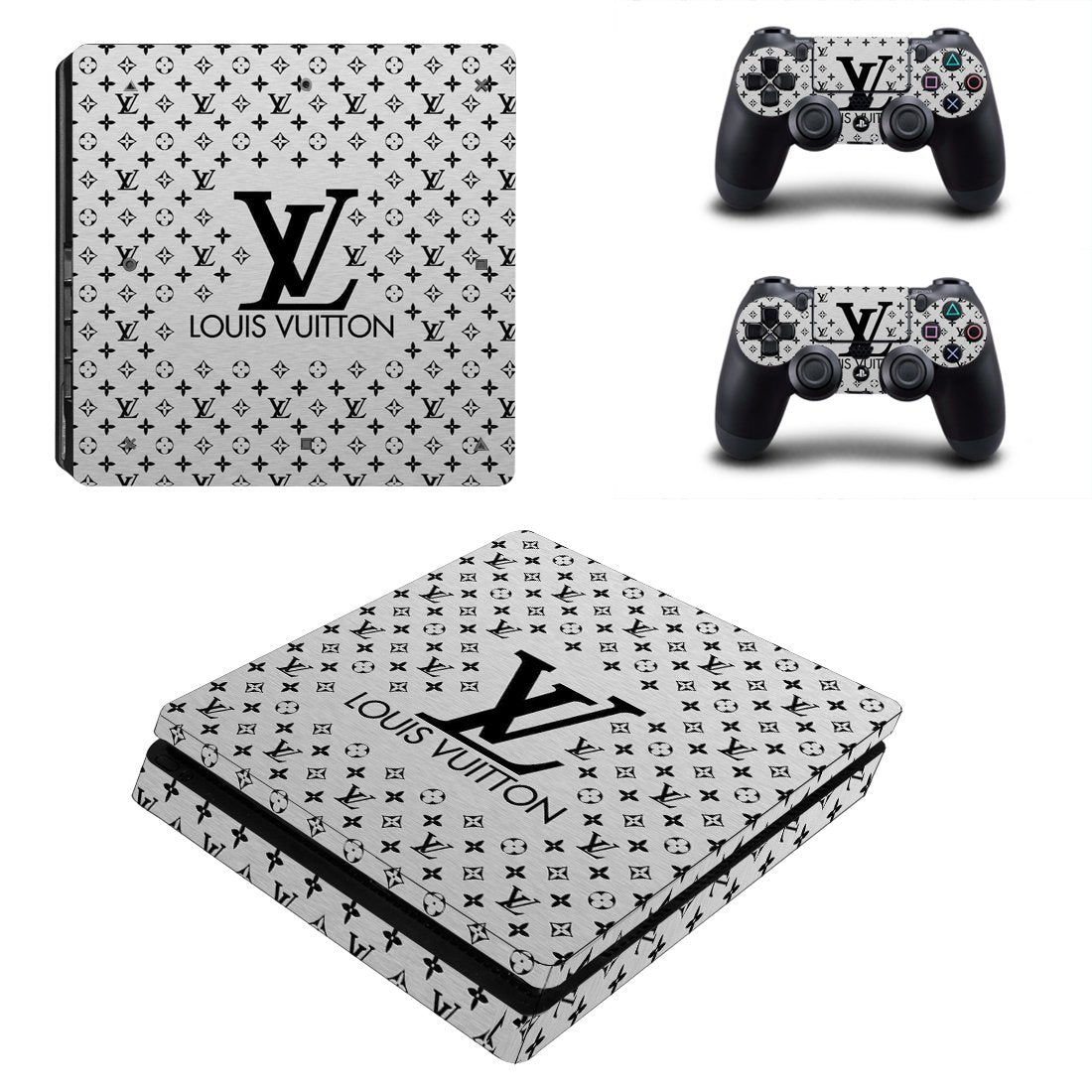Louis Vuitton Monogram LV Silver PS4 Slim Skin Sticker Wrap
