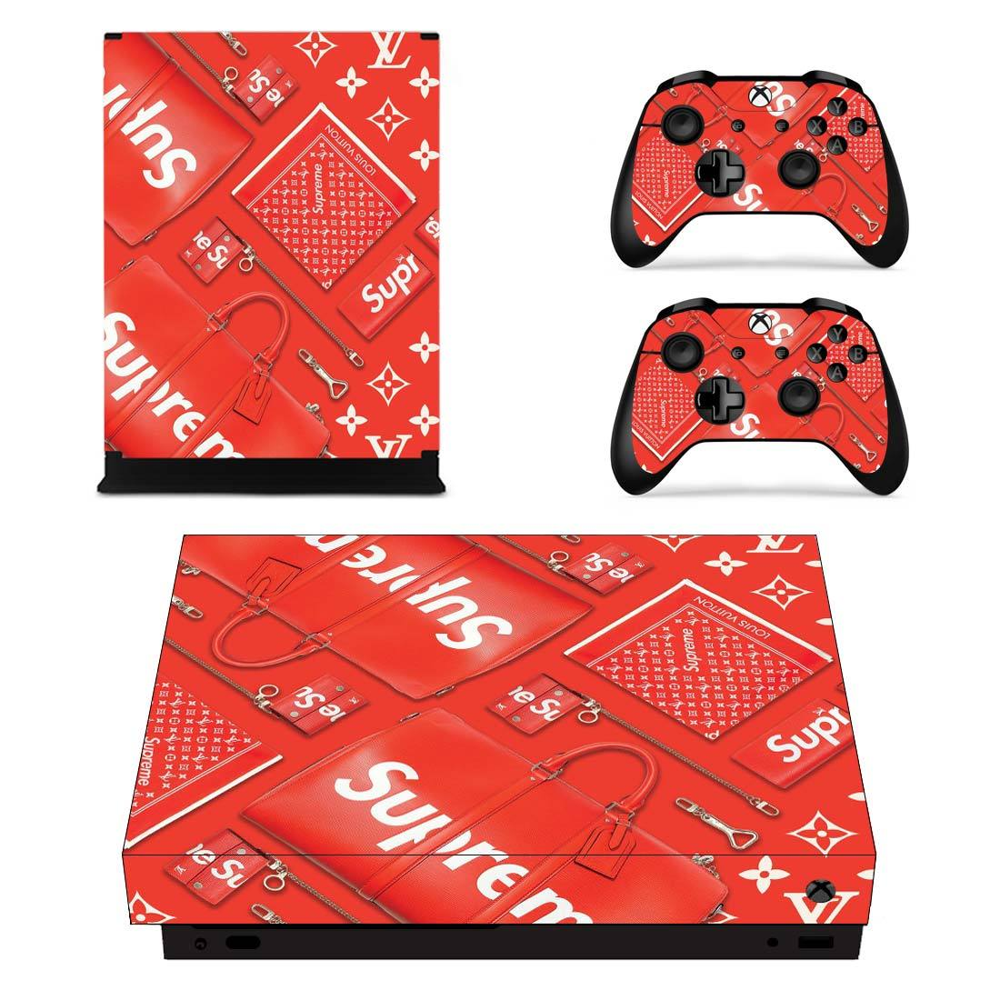 Supreme LV Collage Xbox One X Skin Sticker Wrap