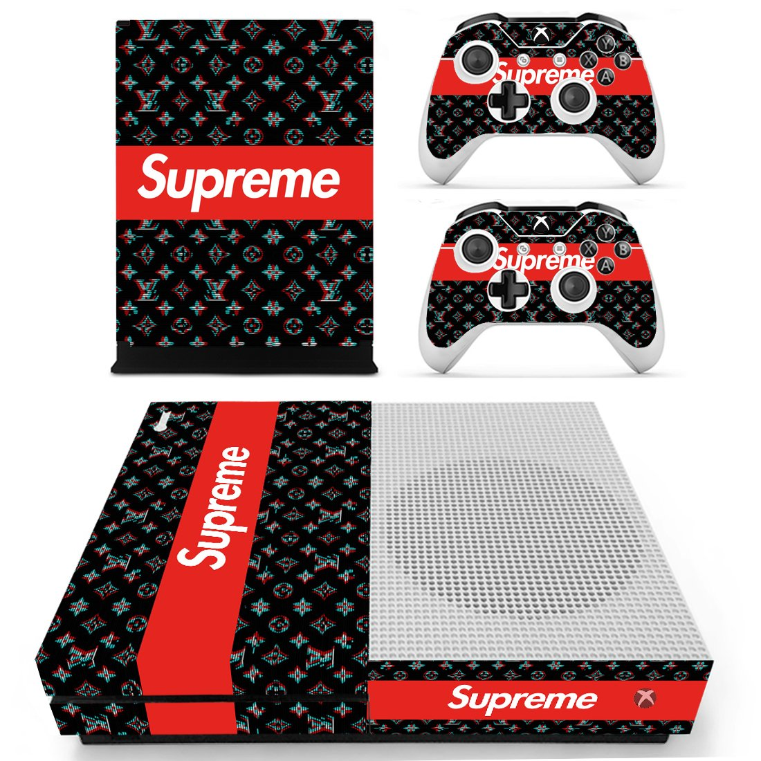 Supreme LV Xbox One S Skin Sticker Wrap